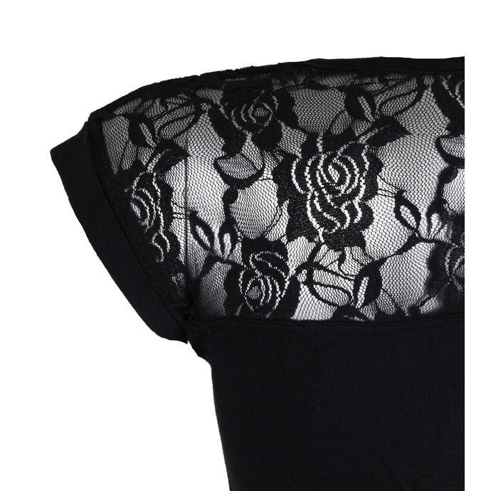 tričko dámské BLACK HEART - ROD CROSS LACE - BLACK