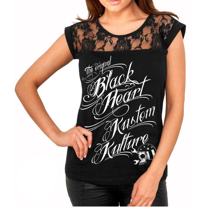 tričko dámské BLACK HEART - KUSTOM KULTURE - BLACK