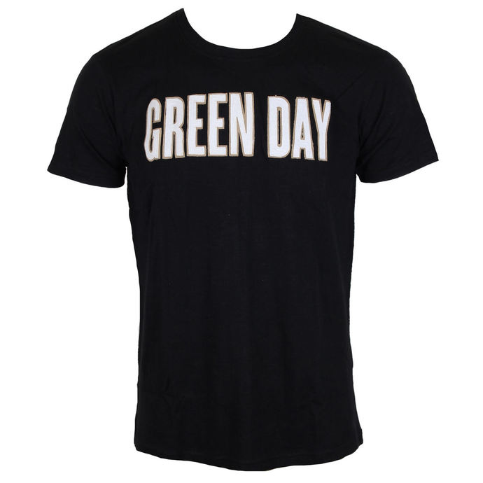 tričko pánské Green Day - Logo & Grenade Applique Slub - Black - ROCK OFF