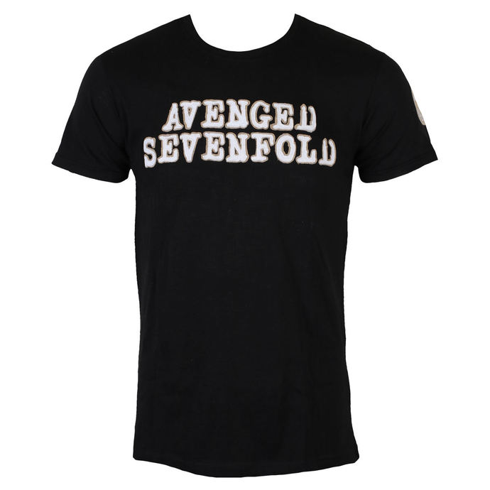 tričko pánské Avenged Sevenfold - Logo & Deathbat Applique - Black - ROCK OFF
