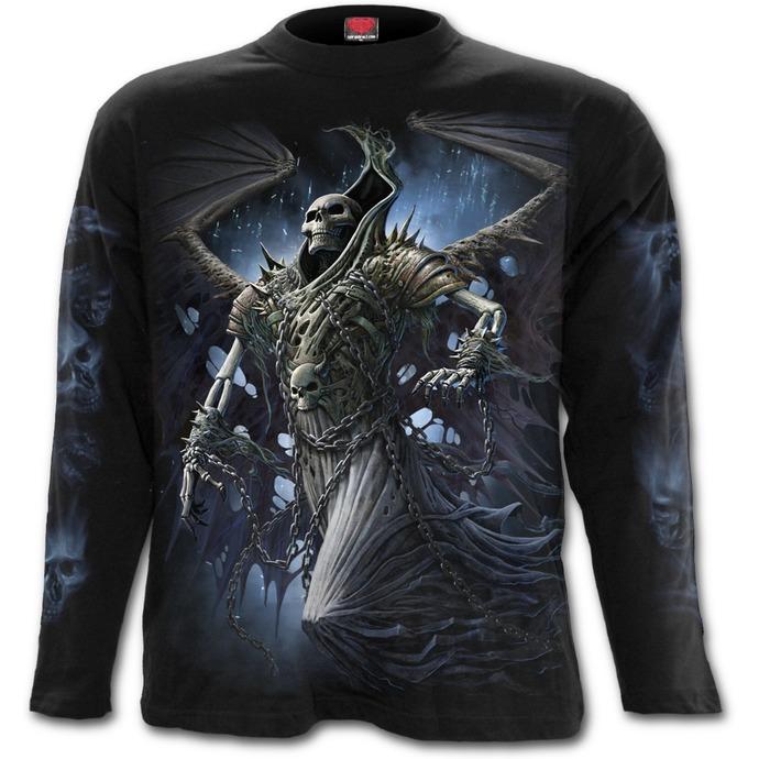 tričko pánské s dlouhým rukávem SPIRAL - WINGED SKELTON - Black