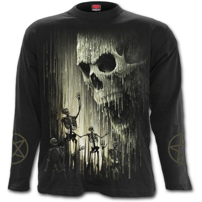 tričko pánské s dlouhým rukávem SPIRAL - WAXED SKULL - Black