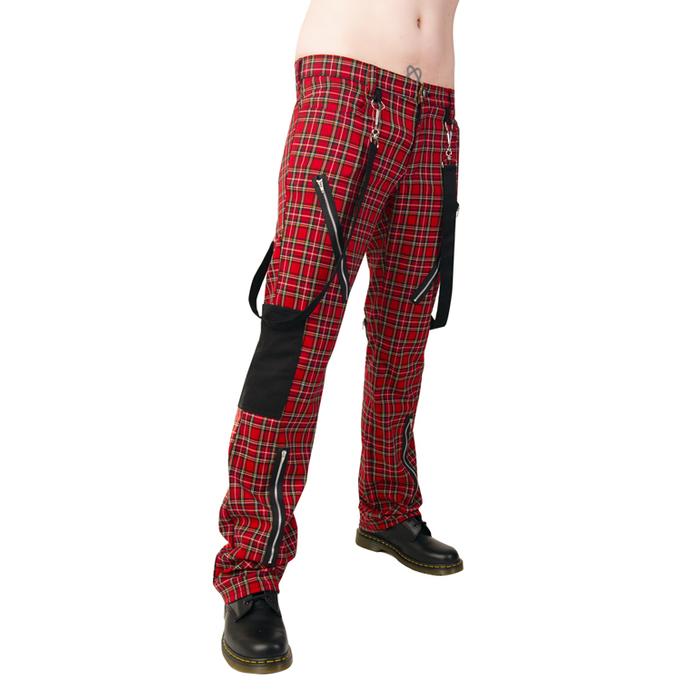 kalhoty Black Pistol - Punk Pants Tartan Red-Green