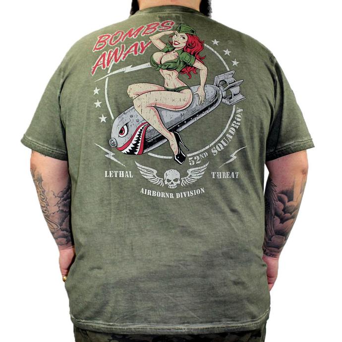 tričko pánské LETHAL THREAT - VINTAGE VELOCITY BOMBS AWAY ARMY - GREEN