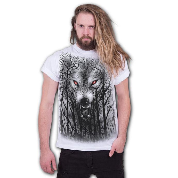 tričko pánské SPIRAL - FOREST WOLF - White
