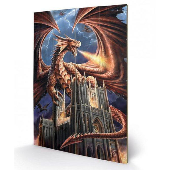dřevěný obraz ANNE STOKES - (Dragon's Fury)