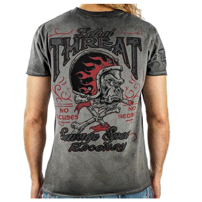 tričko pánské LETHAL THREAT - VINTAGE VELOCITY SAVAGE SPEED - GREY