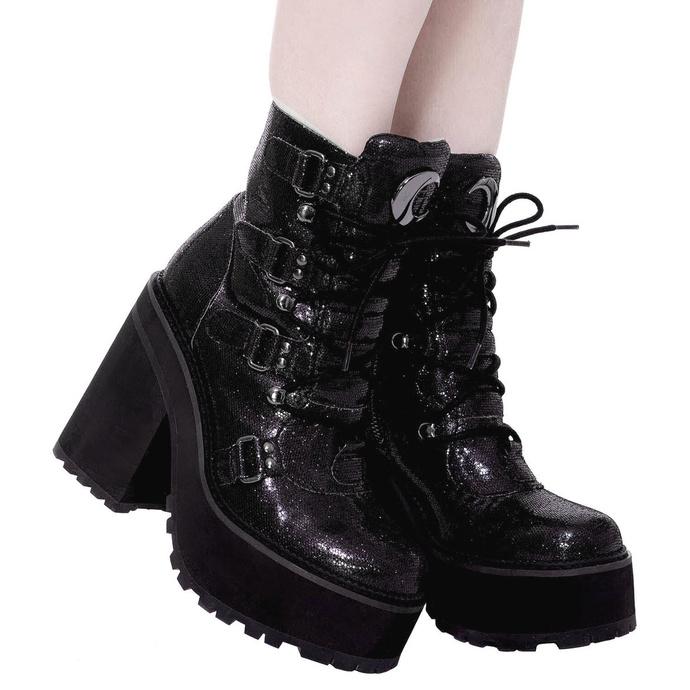 boty dámské KILLSTAR - Broom Rider Boots - BLACK GLITTER