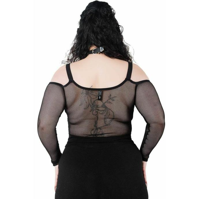 tričko dámské s dlouhým rukávem (top) KILLSTAR - Catitude Fishnet - BLACK