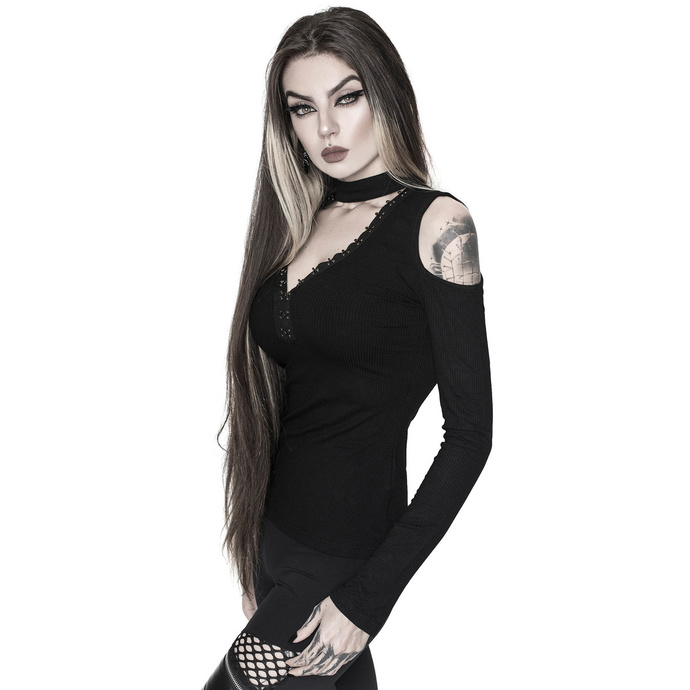 tričko dámské s dlouhým rukávem KILLSTAR - Downward Spiral Cold-Shoulder Top