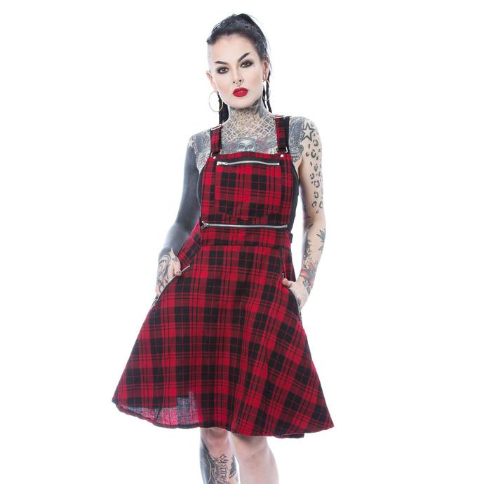 šaty dámské Heartless - MAUDE PINAFORE - RED CHECK