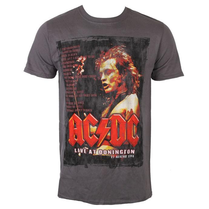 tričko pánské AC/DC - Donington Set List - Charcoal - ROCK OFF