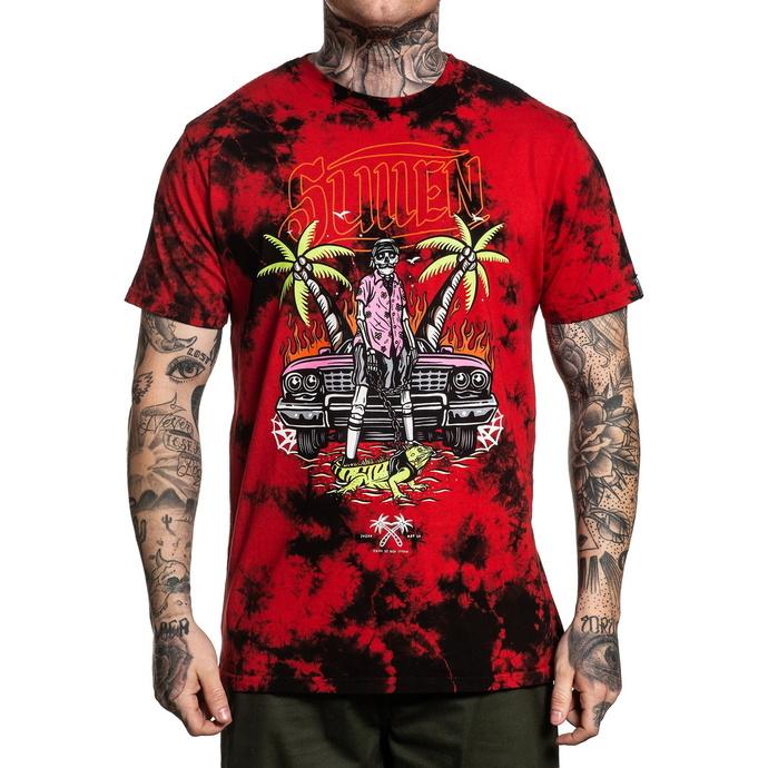 tričko pánské SULLEN - ISLANDER - BLACK/RED WASH