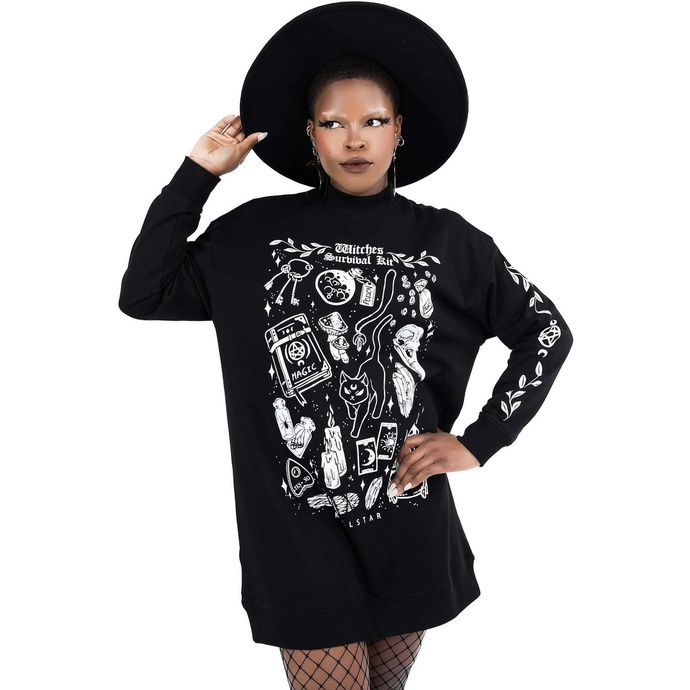 mikina dámská (šaty) KILLSTAR - Survival Kit Sweater - Black