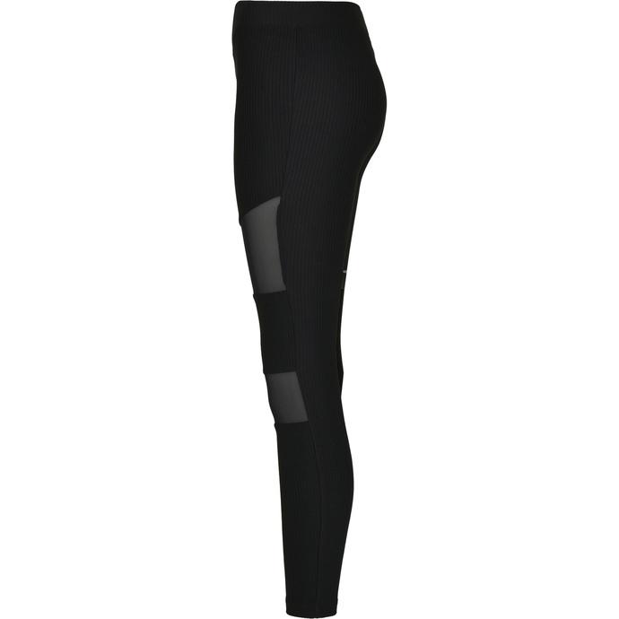 kalhoty dámské (legíny) URBAN CLASSICS - Tech Mesh Rib - black