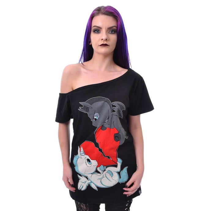 tričko dámské Cupcake Cult - UNICORN HEART FIGHT - BLACK