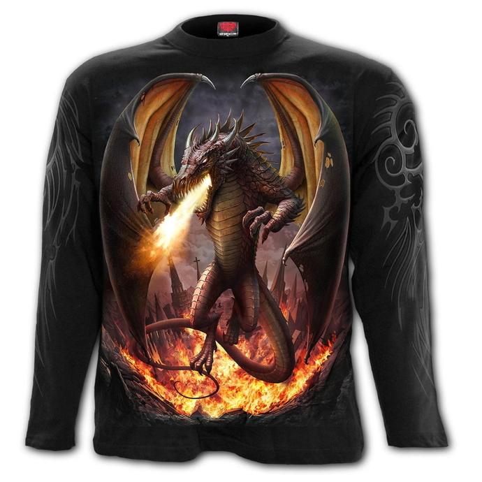 tričko pánské s dlouhým rukávem SPIRAL - DRACO UNLEASHED - Black