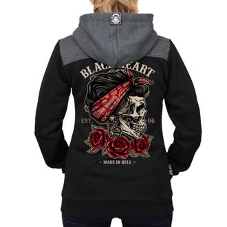 mikina dámská BLACK HEART - PIN UP SKULL RG - BLACK