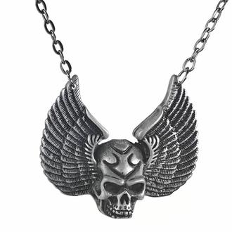 obojek PUNK DEVIL SKULL PENDANT, Leather & Steel Fashion