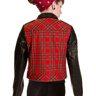 bunda dámská BANNED - Red Tartan Faux Leather, BANNED