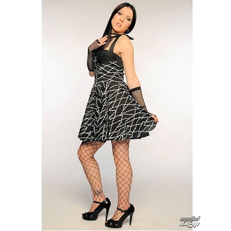 šaty dámské Barbed Wire Zip Dress (Black/White)- HELL BUNNY  - 5135 WHT