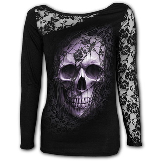 tričko dámské s dlouhým rukávem SPIRAL - LACE SKULL - Black, SPIRAL