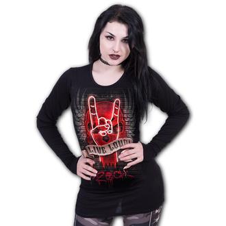tričko dámské s dlouhým rukávem SPIRAL - LIVE LOUD - Black, SPIRAL