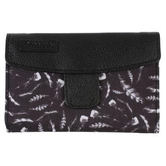 peněženka MEATFLY - Mia Ladies - Black, Feather Print, MEATFLY