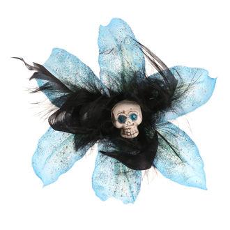 sponka do vlasů Skull - Flower - Turquise