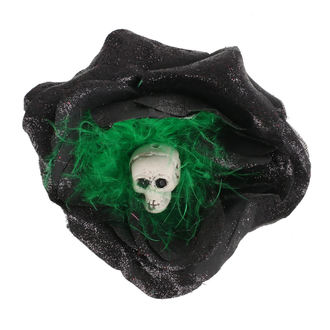 sponka do vlasů Skull - Black/Green Feathers, NNM