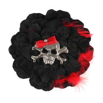 sponka do vlasů Skull - Black/Red Bow
