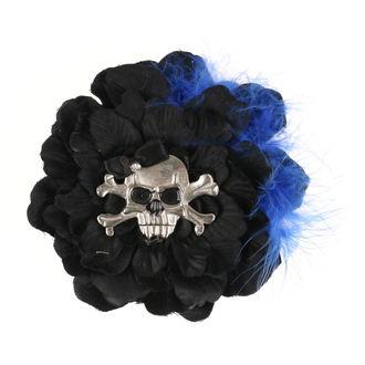 sponka do vlasů Skull - Black/Blue Feathers