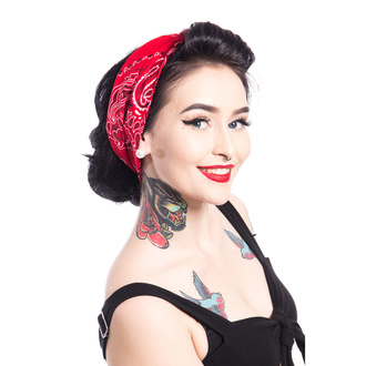 šátek (čelenka) ROCKABELLA - BAND TWO BANDANA - RED, ROCKABELLA