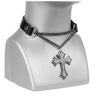 obojek Cross, Leather & Steel Fashion