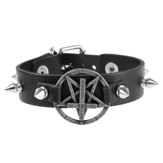 náramek Pentagram, Leather & Steel Fashion