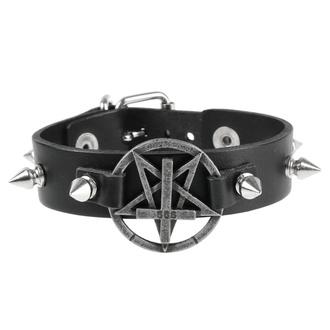 náramek Pentagram, Leather & Steel Fashion