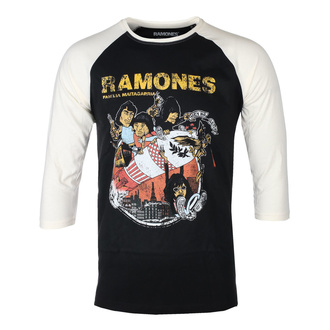 tričko pánské s 3/4 rukávem RAMONES - ROCKET CARTOON - BLACK / ECRU RAGLAN - GOT TO HAVE IT, GOT TO HAVE IT, Ramones