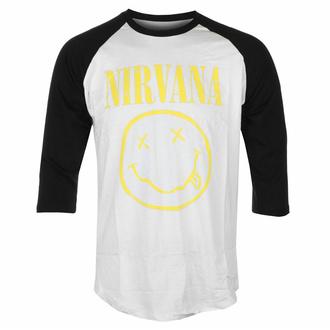 tričko pánské s 3/4 rukávem Nirvana - Yellow Smiley -  Wht/BL Raglan - ROCK OFF, ROCK OFF, Nirvana