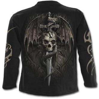 tričko pánské s dlouhým rukávem SPIRAL - DRACO SKULL - Black, SPIRAL