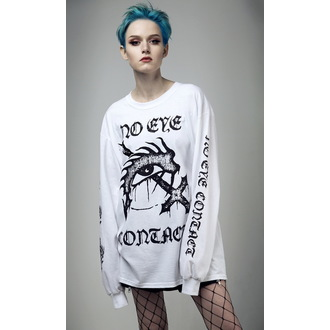tričko s dlouhým rukávem (unisex) DISTURBIA - No Eye Contact - White, DISTURBIA