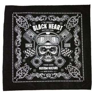 šátek BLACK HEART - PISTON SKULL - BLACK - 027-0001-BLK