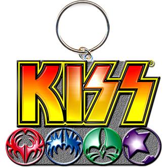 klíčenka - přívěšek KISS (Logo & Icons) - ROCK OFF, ROCK OFF, Kiss