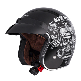 přilba BLACK HEART -  PISTON SKULL - BLACK, BLACK HEART