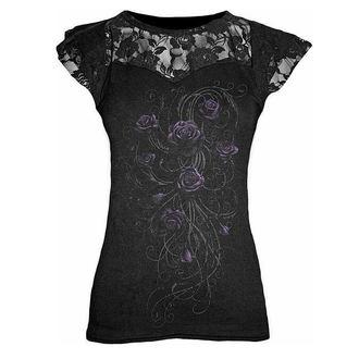 tričko dámské SPIRAL - Entwined - Lace Layered Viscos Blk - D020F721