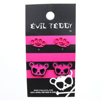 náušnice EVIL TEDDY - ETES1 Teddy Knuckleduster Set - Růžové