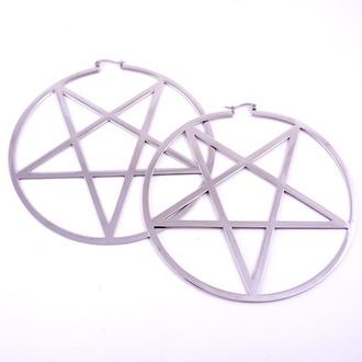 náušnice KILLSTAR - Pentagram Hoop - Silver - KIL201