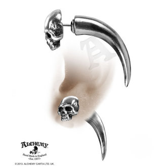 náušnice Tomb Skull Horn - ALCHEMY GOTHIC -  E320