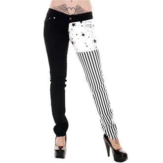 kalhoty dámské 3RDAND56th - Split/L Skinny - Blk/Wht - JM1142