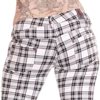 kalhoty dámské 3RDAND56th - Check Skinny - Wht