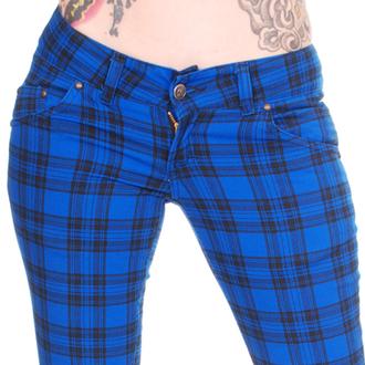 kalhoty dámské 3RDAND56th - Check Skinny - Royal